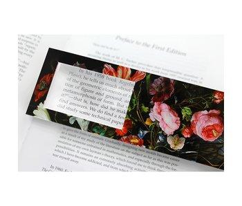 Marcador con lupa, Bodegón de flores, De Heem