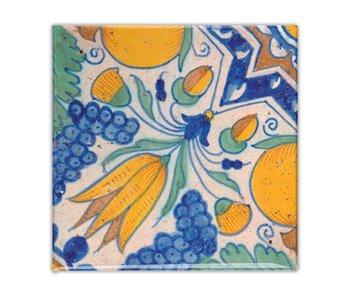 Aimant pour réfrigérateur, bleu de Delft, polychrome diagonal tulipe