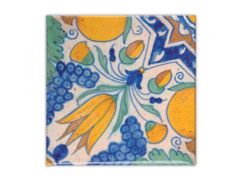 Imán de nevera, Delft azul, Diagonal Tulip policromo