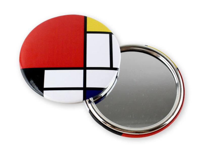 Espejo de bolsillo, grande, Ø 80 mm, Mondriaan