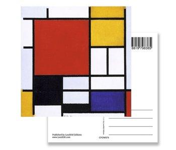Postal, Composición con área roja grande, Mondrian