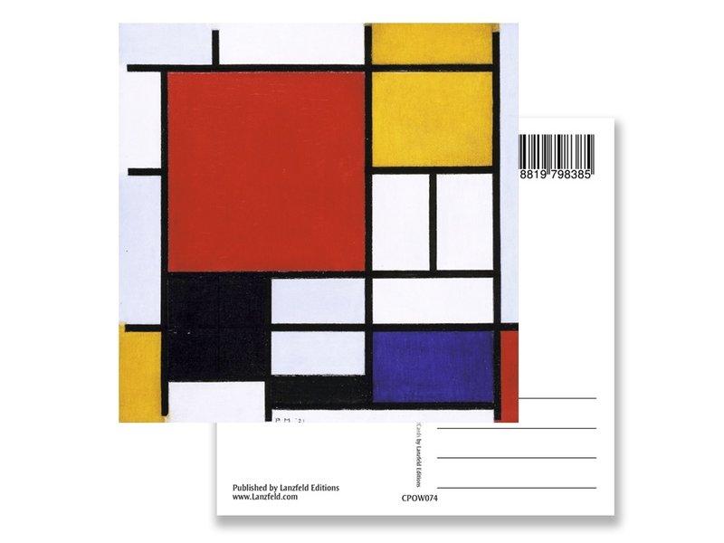 Ansichtkaart, Compositie met groot rood vlak, Mondriaan