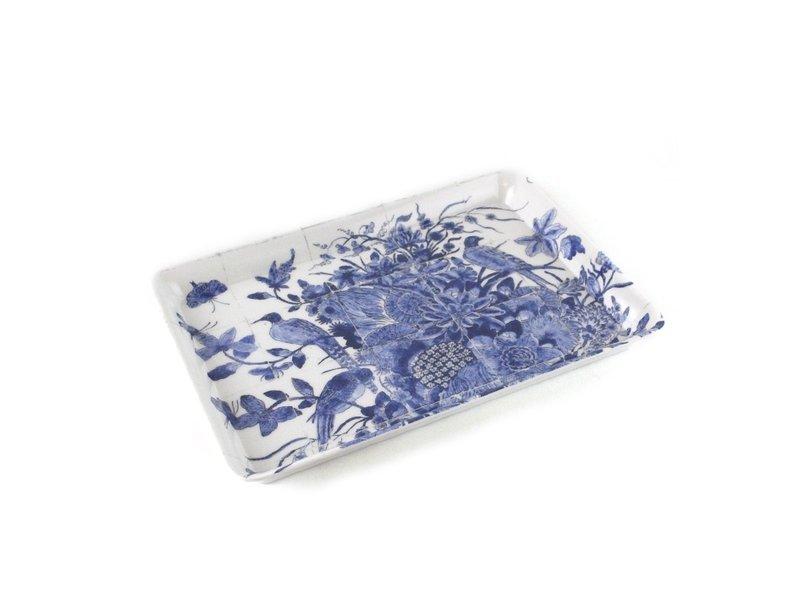 Mini bandeja, 21 x 14 cm, pájaros azules de Delft