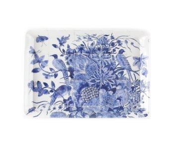 Mini dienblad , 21 x 14 cm, Delfts blauwe vogels