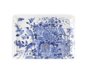 Mini tray, 21 x 14 cm, Delft blue birds