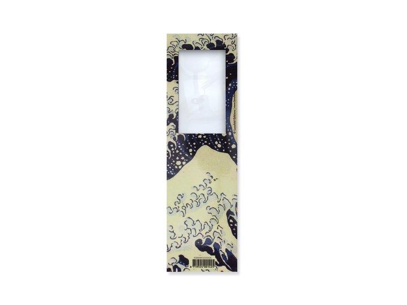 Lesezeichen mit Lupe, Hokusai, die große Welle