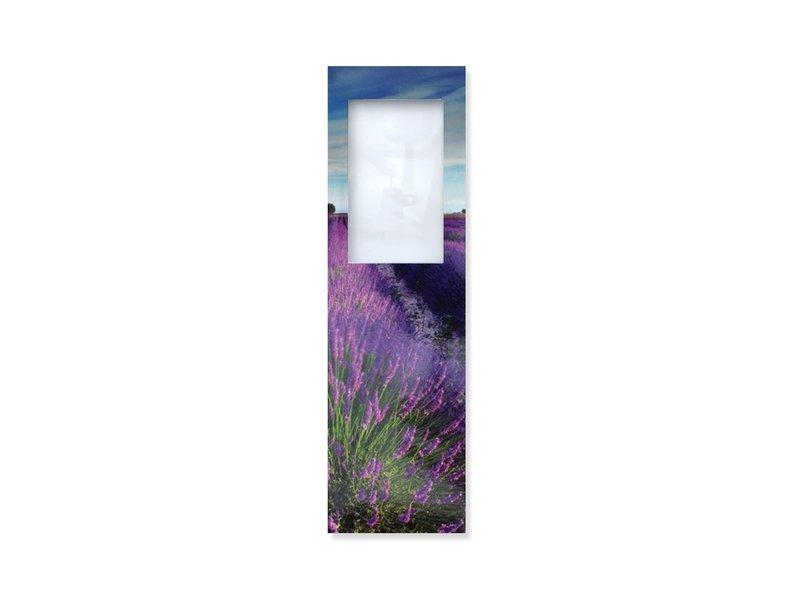 Lesezeichen mit Lupe, Lavendelfeld
