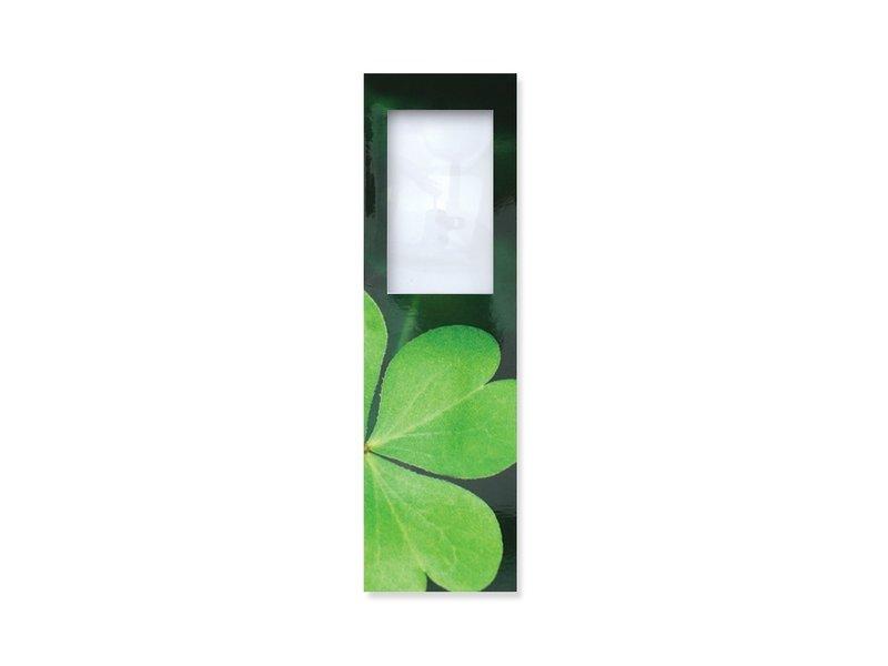 Lesezeichen mit Lupe, vierblättriges Kleeblatt
