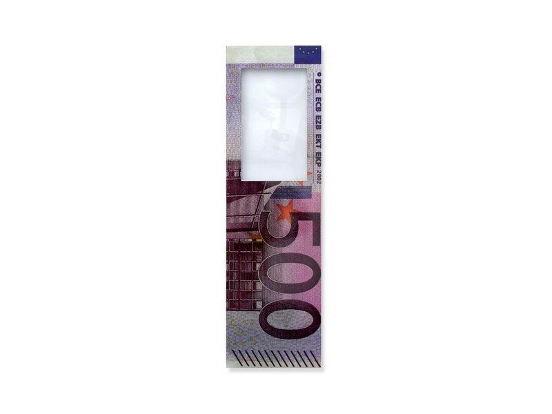 Lesezeichen mit Lupe,  500 Euro biljet