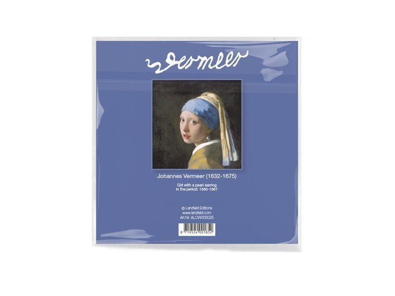 Brillenputztuch , 15 x 15 cm, Mädchen mit Perlenohrring