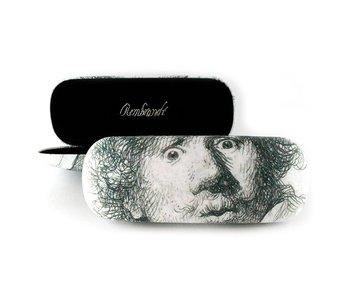 Brillenkoker , Zelfportret met verbaasde blik ,Rembrandt