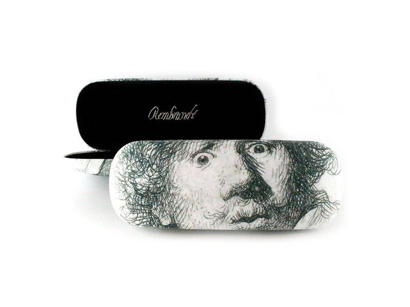 Brillendoos, Zelfportret met verbaasde blik ,Rembrandt