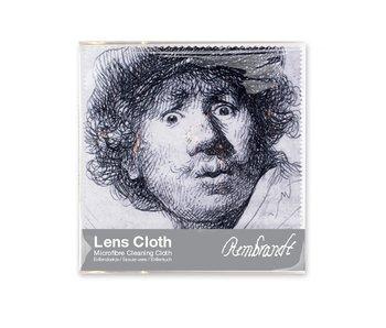 Brillendoekje, 15 x 15 cm, Zelfportret met verbaasde blik, Rembrandt