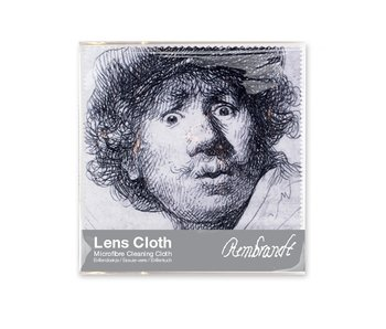 Lens cloth, 15 x 15 cm, Self-portrait with astonished look, Rembrandt