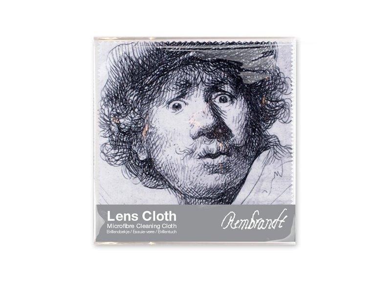 Essui-verres, 15 x 15 cm, Autoportrait au look étonné, Rembrandt
