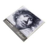 Brillenputztuch , 15 x 15 cm, Selbstporträt mit erstauntem Aussehen, Rembrandt