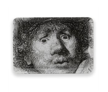 Mini tray, 21 x 14 cm, Self-portrait with astonished look, Rembrandt