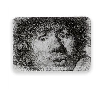 Minitablett, 21 x 14 cm, Selbstporträt mit erstauntem Aussehen, Rembrandt