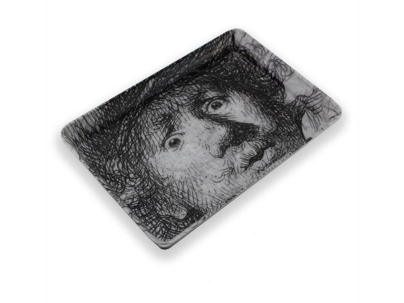 Mini dienblad , 21 x 14 cm, Zelfportret met verbaasde blik , Rembrandt