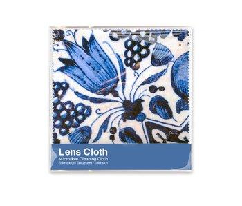 Brillenputztuch , 15 x 15 cm, Delfter Blau, Tulpen