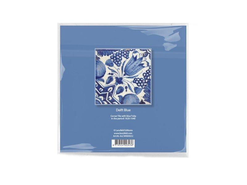 Essui-verres, 15 x 15 cm, Bleu de Delft, Tulipes