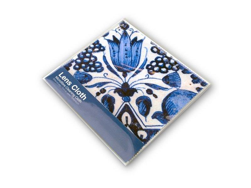 Paño de gafas, 15 x 15 cm, azul de Delft, tulipanes