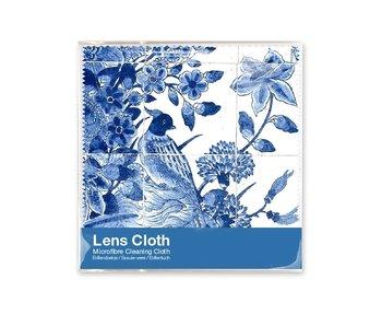 Lens cloth, 15 x 15 cm, Delft blue, Birds