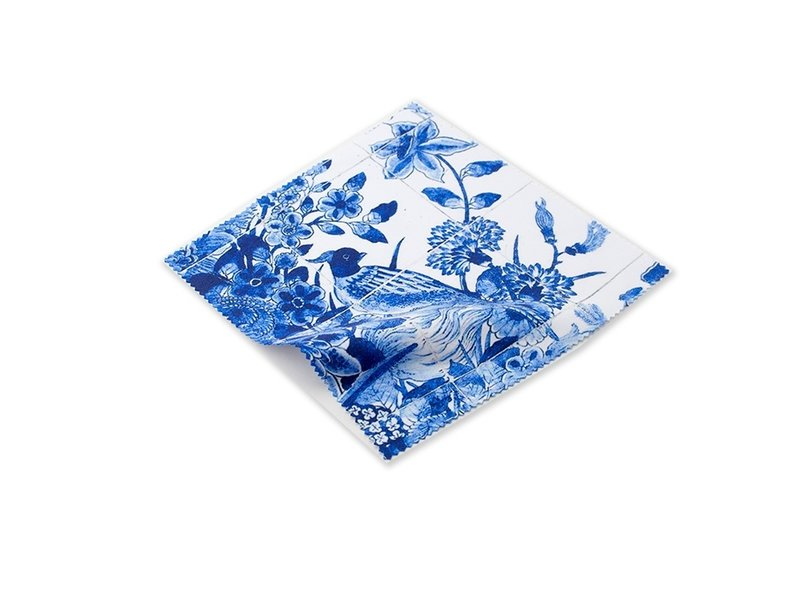 Brillenputztuch , 15 x 15 cm, Delfter Blau, Vögel