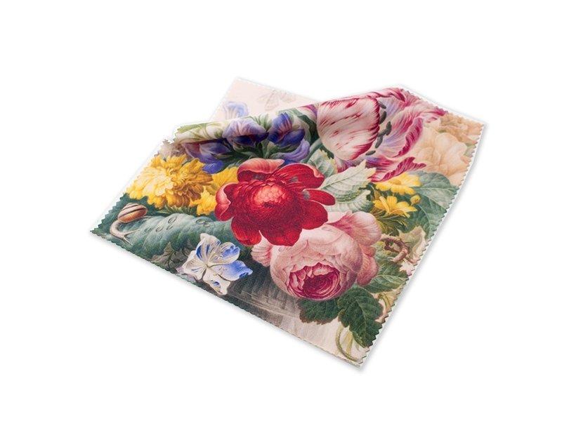 Lens cloth, 15 x 15 cm, Flowers, Henstenburgh