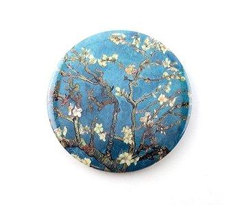 Espejo de bolsillo, Ø 80 mm, flor de almendro, Van Gogh