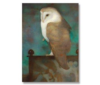 Plakat, 50 x 70, Große Eule auf dem schirm, Jan Mankes