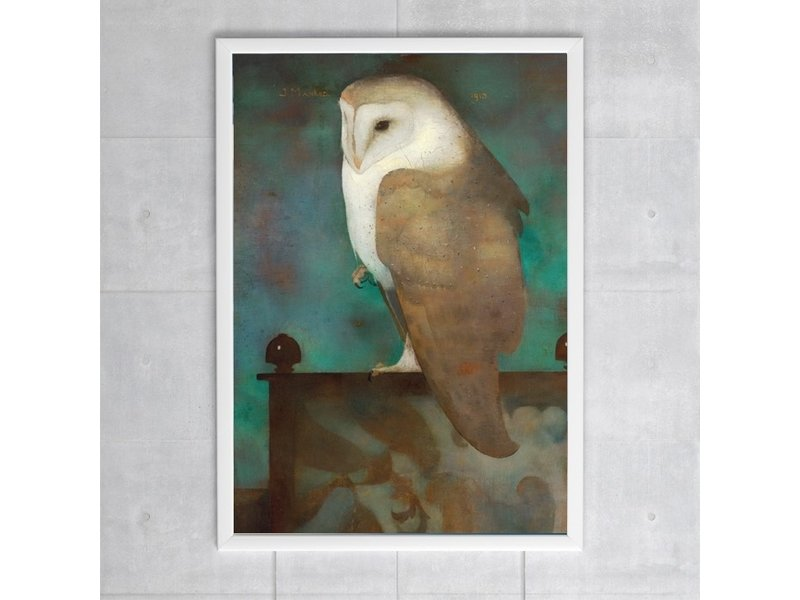 Poster, 50 x 70, Great owl on screen, Jan Mankes