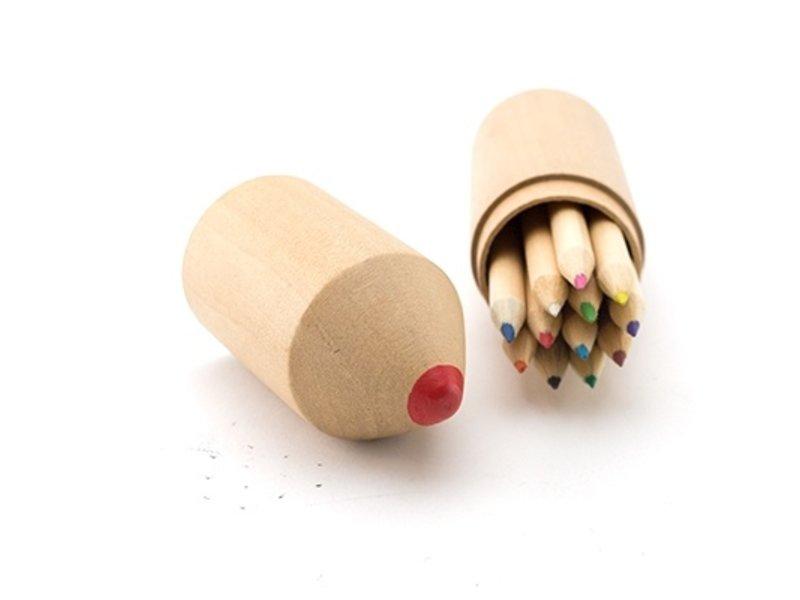 Set de 12 crayons, tube en bois