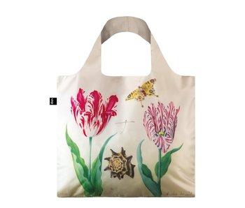 Shopper faltbar, zwei Tulpen, Muschel und Schmetterling, Marrel