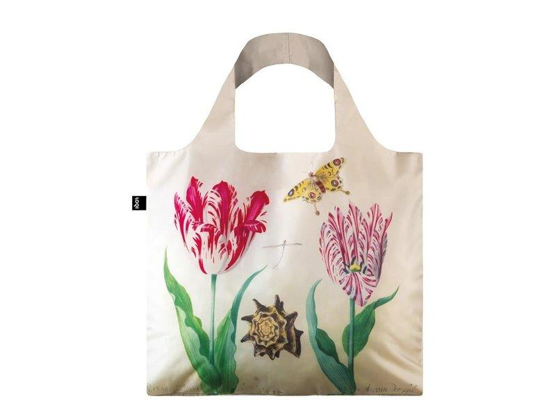 Compradora plegable, Dos tulipanes, concha y mariposa, Marrel