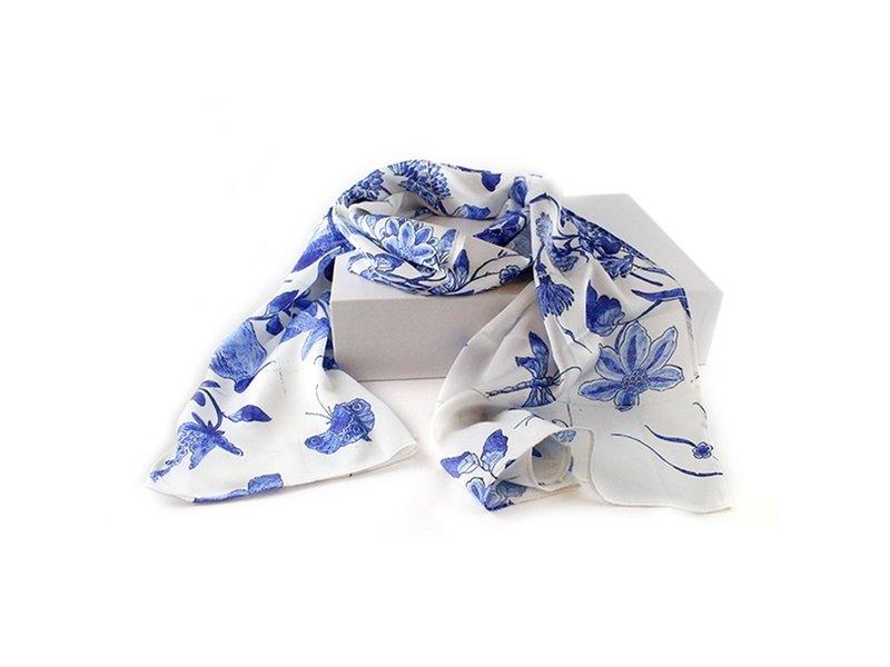 Bufanda, azul de Delft, pájaros