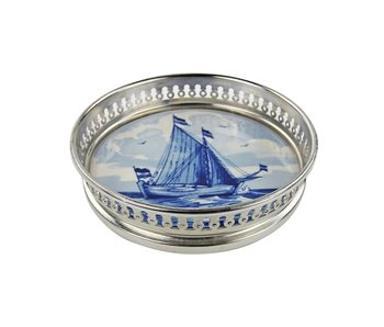 Delft blue bottle coaster, Ship