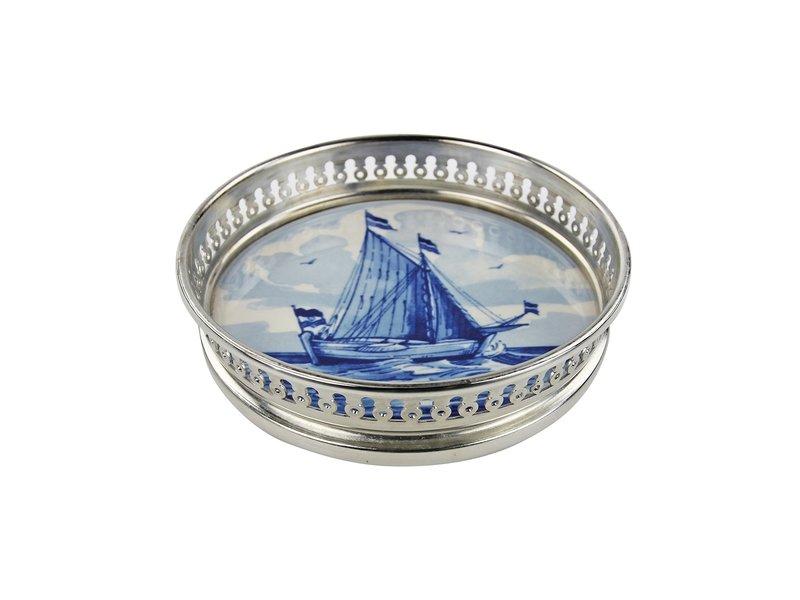 Dessous de bouteille bleu de Delft, navire