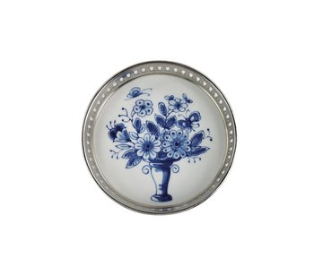 Delft blue bottle coaster, flower