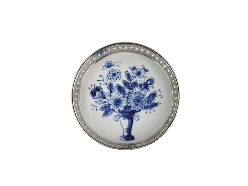 Dessous de bouteille bleu Delft, fleur