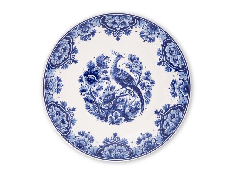 Delfter blauer Teller, ø 24 cm Vogel am Ast