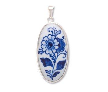 Medaillon, Delfter blaues Porzellan, oval