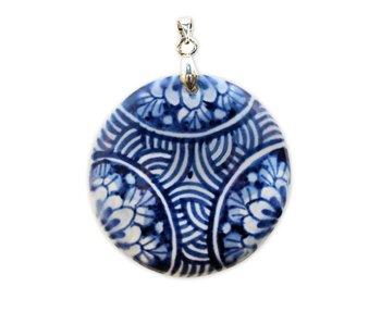 Medallón, azul de Delft, redondo