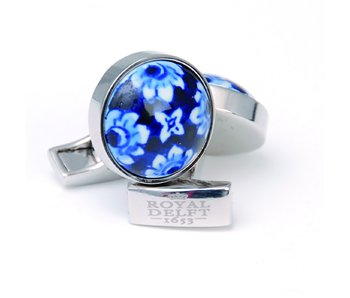 Cufflinks , Delft blue flower porceleyn
