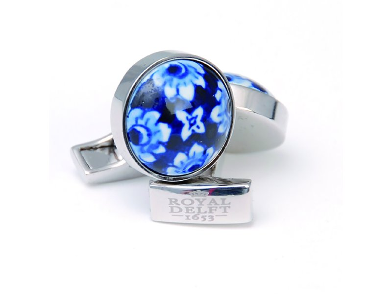 Boutons de manchette, porcelaine fleur bleue de Delft