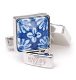 Manchetknopen, Vierkant, Delfts blauwe bloem porceleyn