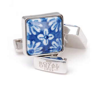 Cufflinks, Square, Delft blue flower porceleyn
