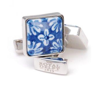 Manschettenknöpfe, Quadrat, Delfter blaues Blumenporzellan