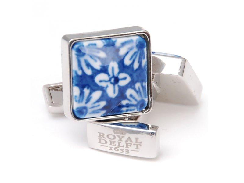 Jewellery Cufflinks W, Square, Delft blue flower porceleyn