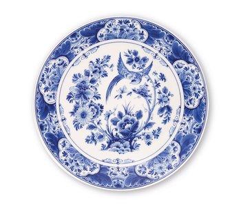 Delft blue plate, ø 24 cm Bird